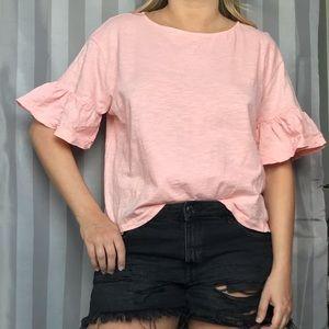 Zara Pink Ruffle Sleeve Top M
